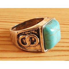 Bague Turquoise Vintage Carré Country Western