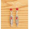 Boucles d'oreilles Plumes Métal Rouge Perles Rouge Country Western