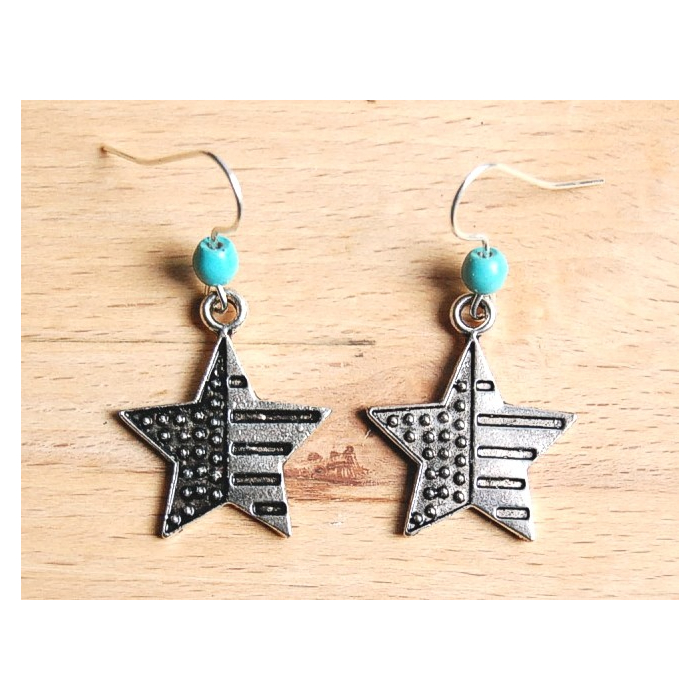Boucle d'oreilles Etoile USA Turquoise Country Western