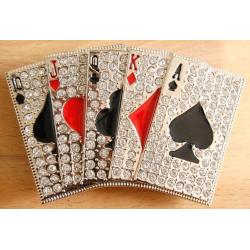 Boucle de Ceinture Carte Poker Strass Country Western