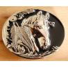 Boucle de Ceinture Tête de Cheval Fond Rouge Country Western