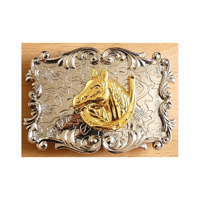 Boucle de Ceinture Fer et Tête Cheval doré Country Western