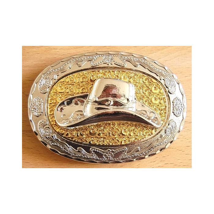 Boucle de Ceinture Chapeau Fond doré Country Western