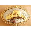 Boucle de Ceinture Chapeau Fond doré Motifs Country Western