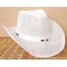 Chapeau Country Western Bourdalou Perles Blanc