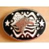 Boucle de Ceinture Tête Aigle USA Noir et Blanc Country Western