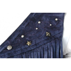 Gilet Franges Rivets Court Violet - Country Western