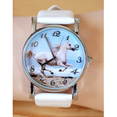 Montre Bracelet Blanc Cheval - Country Western