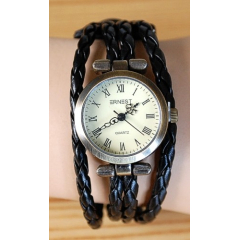 Montre Bracelet - Large - Lacet Noir - Country Western