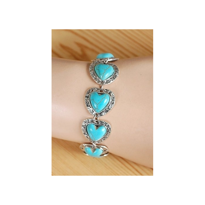 Bracelet Turquoise Howlite Petits Coeur Country Western