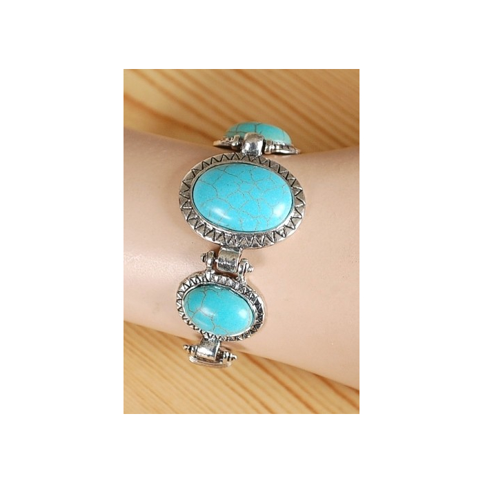 Bracelet Turquoise Howlite Trio Ovale Split Country Western