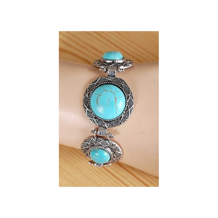 Bracelet Turquoise Howlite Trio Rond Hitch Country Western