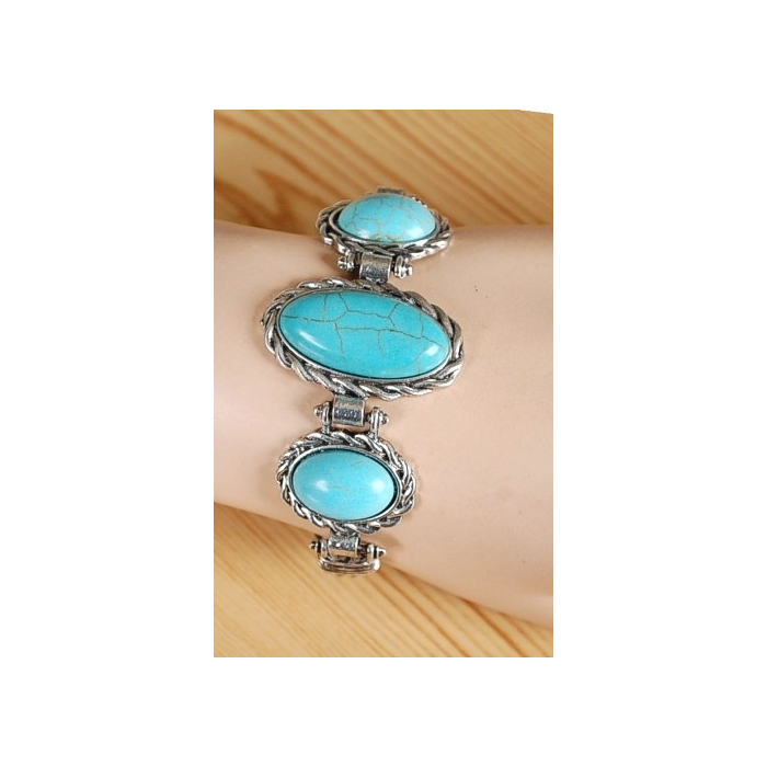 Bracelet Turquoise Howlite Trio Oval Knee Country Western