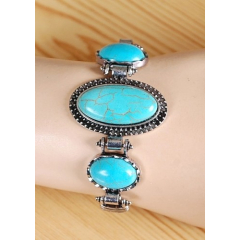 Bracelet Turquoise Howlite Trio Oval Kick Country Western