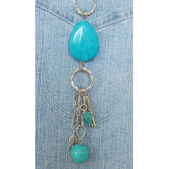 Collier Turquoise Long Goutte Country Western