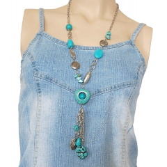 Collier Turquoise Long Coeur Pepitte Country Western