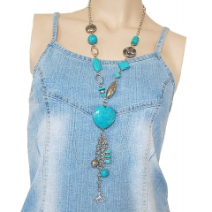 Collier Turquoise Long Coeur Country Western