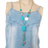 Collier Turquoise Long Rectangle Country Western