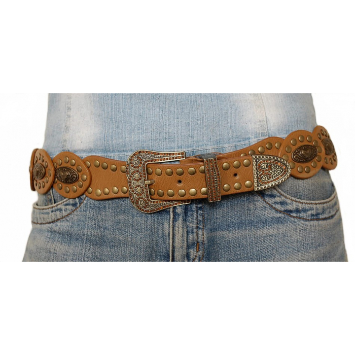 Ceinture Rivets Concho Camel Coeur Country Western