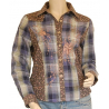 Chemise Country Western Carreaux Broderies Bleu