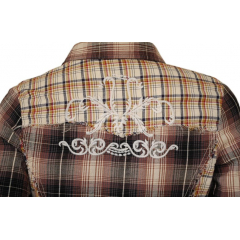 Chemise Country Western Carreaux Broderies Dos Marron