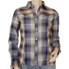 Chemise Country Western Carreaux Broderies Dos Bleu