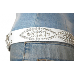 Ceinture Femme Rivets Strass Country Cuir Blanc Western
