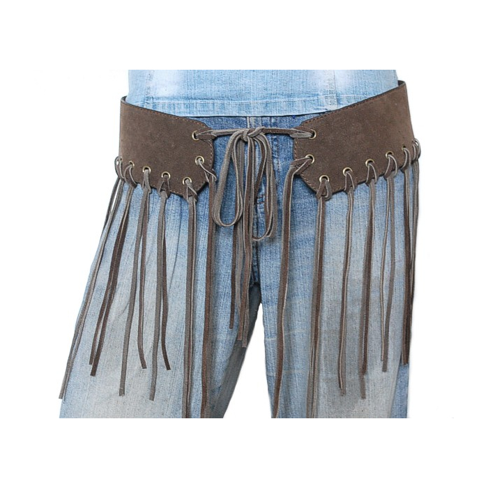 Ceinture Femme Franges Lacets Dance Cuir Taupe Country Western