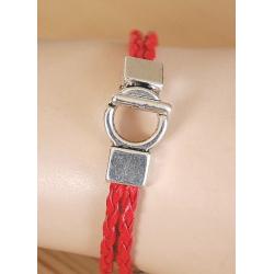 Bracelet Plume Cordon Rouge