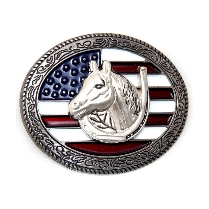 Boucle de Ceinture Drapeau USA Tête Cheval Country Western