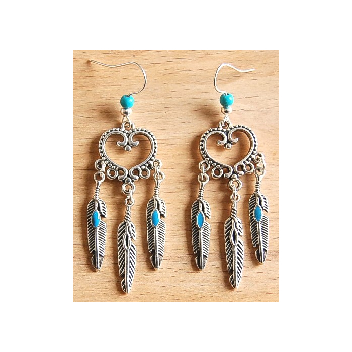 Boucles d'oreilles Coeur Plumes Turquoise Country Western