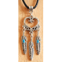 Pendentif Coeur Plumes Turquoise Country Western