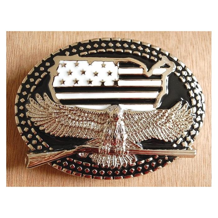 Boucle de Ceinture Noir Aigle USA Winchester Country Western