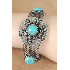Bracelet Turquoise Howlite et Strass Maille Country Western
