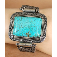 Bracelet Turquoise Howlite Rectangle Maille
