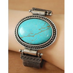 Bracelet Turquoise Howlite Ovale Maille Country Western