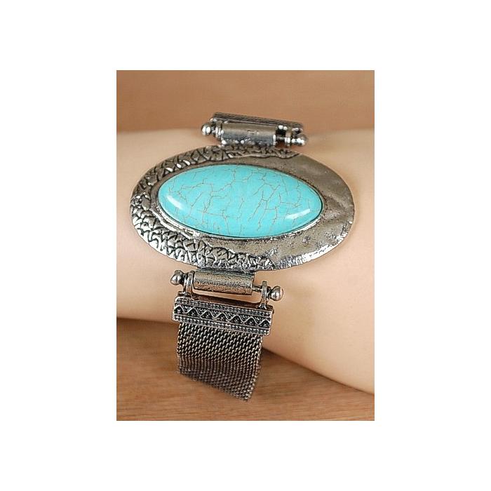 Bracelet Turquoise Howlite Oblong Maille