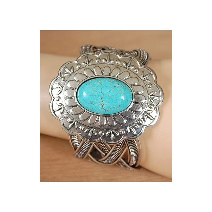 Bracelet Turquoise Howlite Concho