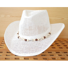 Chapeau Country Western Bourdalou Eté Coquillages Blanc