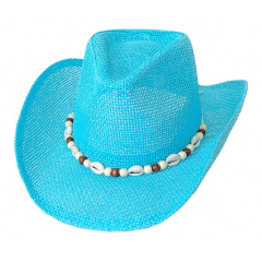 Chapeau Country Western Bourdalou Coquillages Turquoise