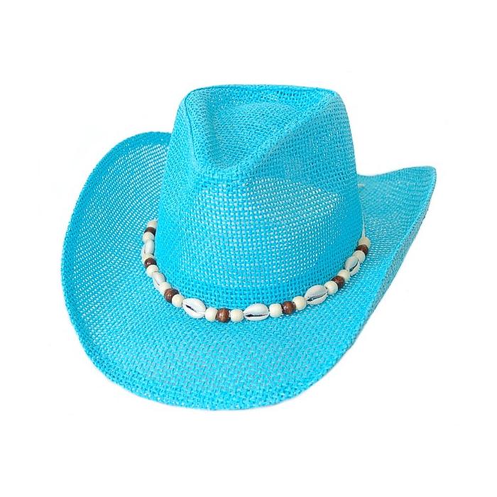 Chapeau Country Western Bourdalou Eté Coquillages Turquoise