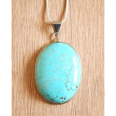 Collier Pendentif Turquoise Howlite Oval Chaine Fine Country Western