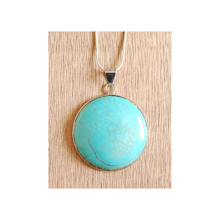 Collier Pendentif Turquoise Howlite Rond Chaine Fine Country Western