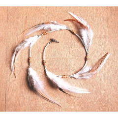 Pince Plumes Perles Bois Blanc et Marron - Country Western