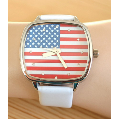 Montre Bracelet Blanc Drapeau USA Rectangle - Country Western