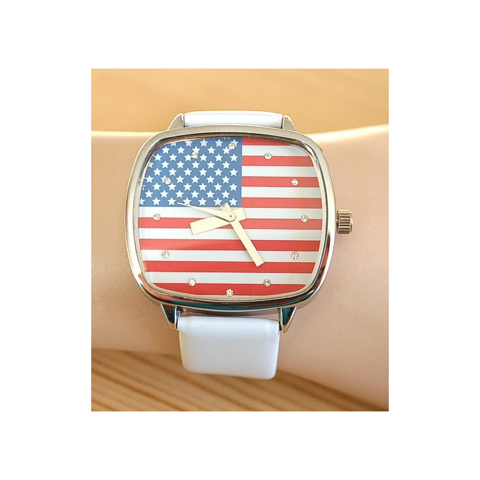 Montre Bracelet Blanc Drapeau USA Rectangle - Country Western
