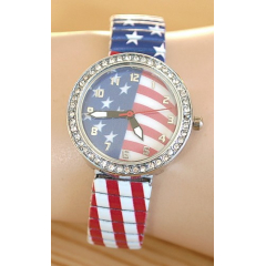 Montre Bracelet Elastique Drapeau USA Strass  - Country Western