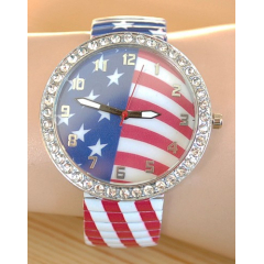 Montre Bracelet Elastique Large Drapeau USA Strass  - Country Western
