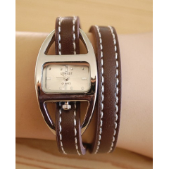 Montre Bracelet Cuir Surpiquer 2 Tours Marron