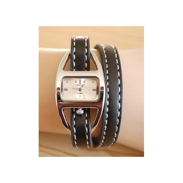 Montre Bracelet Cuir Surpiquer 2 Tours Noir Country Western